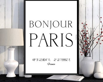 Paris Poster, Paris print, Wall Art decor, Paris city print, City poster, Paris printable, Typography print