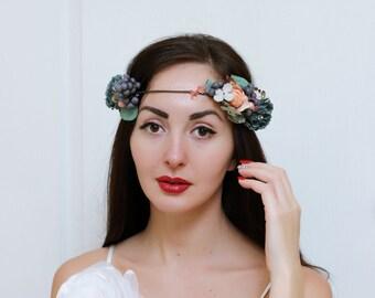 Ready to ship Floral crown Dark turquoise pink flower crown Flower headpiece Wedding hair wreath Bridal halo Girl flower crown Bridesmaids
