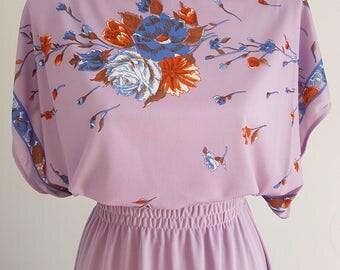 Purple 1970's vintage floral maxi dress