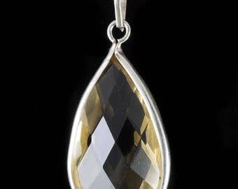 3.9cm Faceted CITRINE Pendant - STERLING SILVER Pendant, Yellow Citrine, Crystal Jewelry, Citrine Necklace, Citrine Jewelry Making J0496