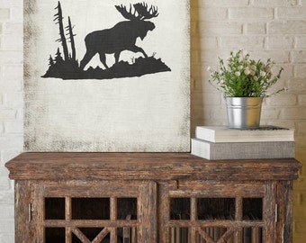 Moose Silhouette, Black and White Print, Silhouette Wall Art, Canvas Wall Decor, Black and White Canvas Art, Printed Marketplace