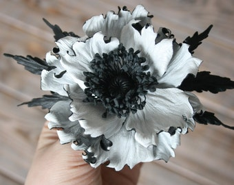 White&Black Leather flower brooch, leather poppy corsage flower, leather gift for her, leather jewelry, third leather anniversary for her