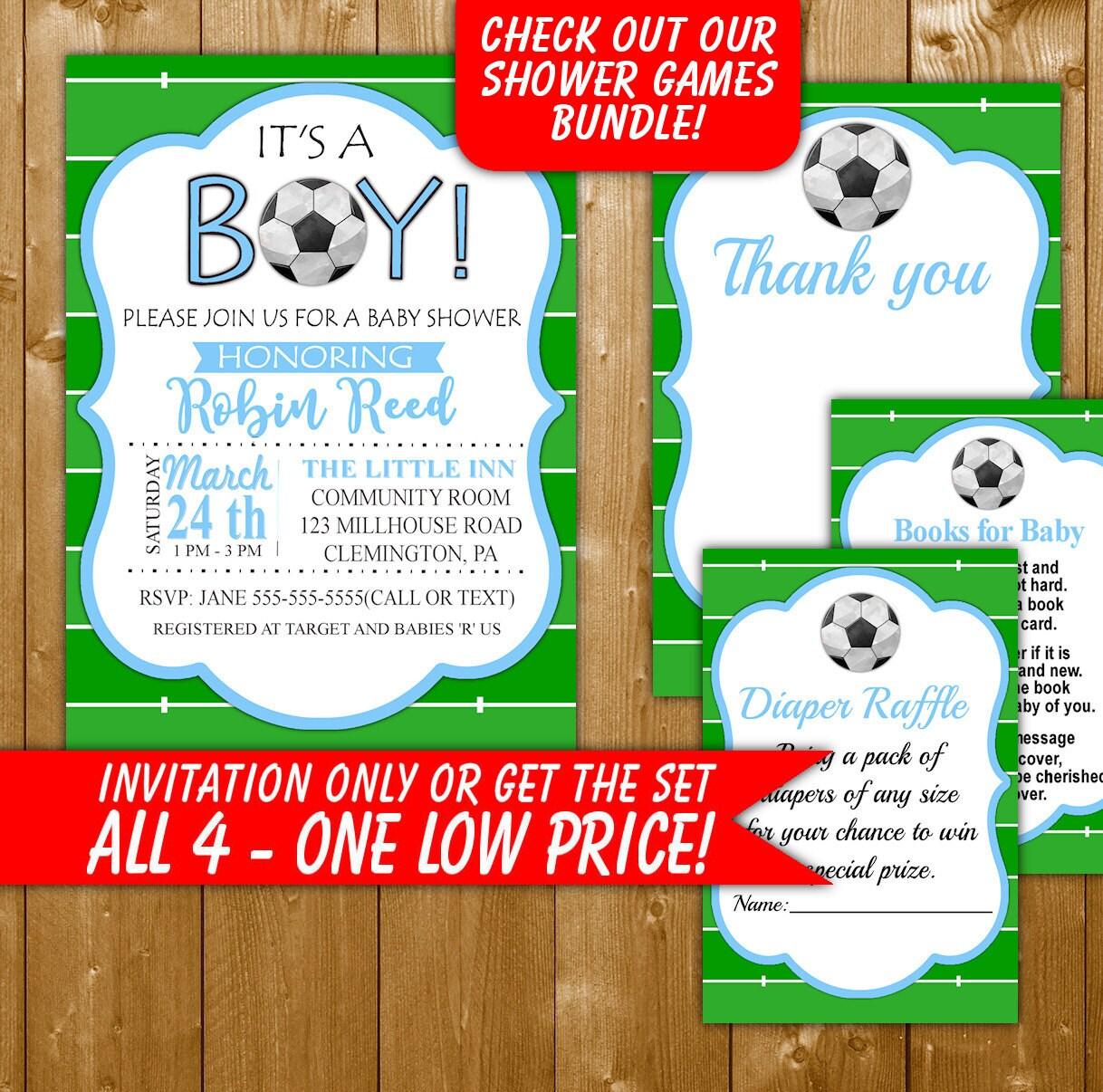 Soccer Baby Shower Invitation Soccer Baby Shower Diaper