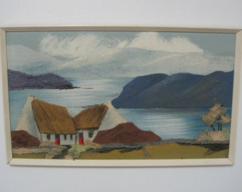 "Irish FIBER ART, ""Cottage by the Sea"", Castlebar Label, 19.5"" x 11.5, Vintage"