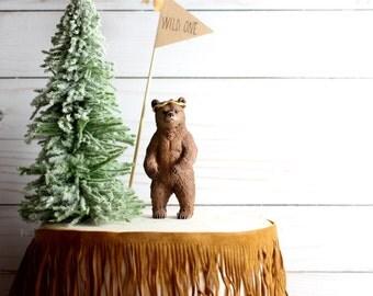 Wild One Birthday First Birthday Decoration Bear Cake Topper Tribal Animals Woodland Birthday Party