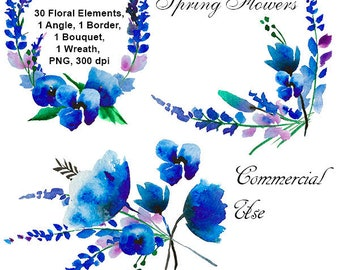 Watercolor Blue Flowers Clipart. Watercolor Floral Clipart. Scrapbooking.  Png without background. 300 dpi. Commercial Use