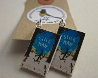 "Stick Man  Book Earrings from ""The Earring Library"""