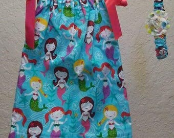 ON SALE***Mermaid 12 month Pillowcase dress and hair accessory (Normally 12.00)