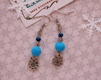 Snowflakes earrings Blue beads earrings Handmade beads earrings Winter earrings Xmas jewelry Winter holiday gift Winter earrings