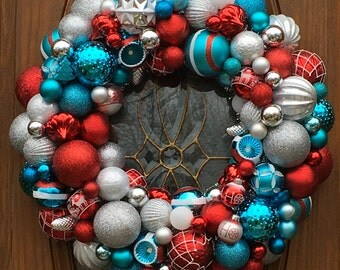 Front Door Christmas Ornament Wreath in Turquoise, Silver and Red - Christmas Wreath - Holiday Ornament Wreath - Christmas Mantle Decoration