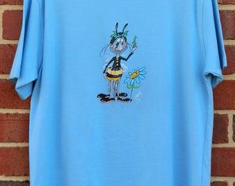 Bee with Flower Pale Blue Tee Shirt, Hand Screen Print, Hand Painted, Original Art Design