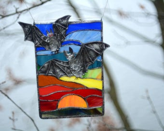 Stained glass bats Rainbow window decoration Tiffany glass art Home decor Suncatcher Nature art style Sunset picture Wedding birthday gift