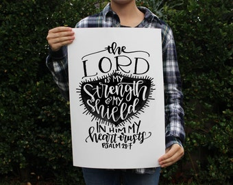 Art Print - Psalm 28:7 Bible Verse