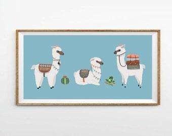 Alpaca print, 8 x 16 in, 10 x 20 in, 12 x 24 in, Llama prints, Nursery art, Kids prints, Blue prints, Llama illustrations, Digital print