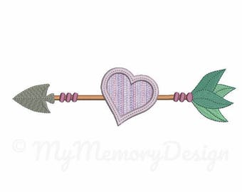 Arrow embroidery design - Heart applique design - Machine embroidery pattern - 4x4 5x7 6x10 size - Instant download digital file