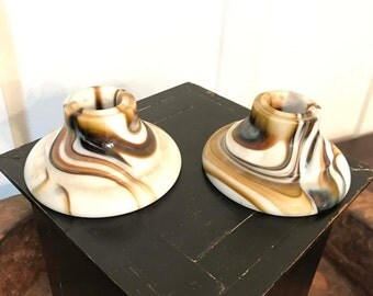 Vintage Pair of White Glass Candlestick Holders with Caramel Brown Swirled Pattern | Marked NO 851