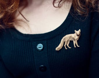 Fox - 3D printed Polygonal Brooch