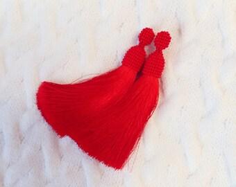 FREE SHIPPING. Tassels earrings. Long tassels earrings. Beaded tassels earrings. Beaded earrings. Red earrings. Red tassels earrings
