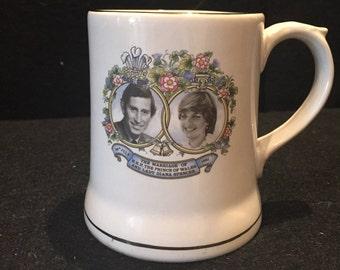 A Commemorative Prince Charles & Lady Diana Wedding Mug from 1981 made by Wade / Collectable Wade / Prince Charles / Princess Diana