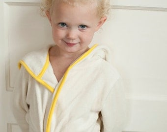 Organic bathrobe for kids, Hooded yellow robe,toddler girl robe ,(size 1-4 ages)