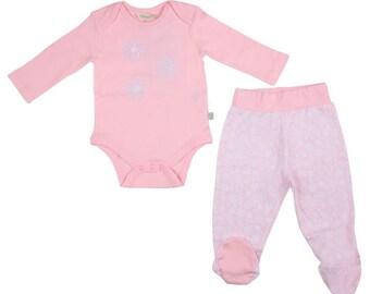 Organic Newborn footed pajamas , footed pants, baby girl pajamas, pink pajamas (size 0-6 months)