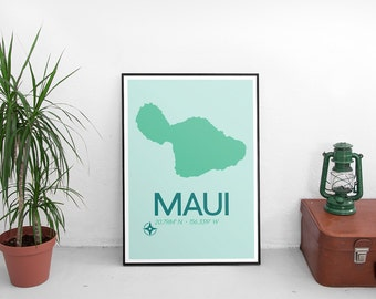 Maui Poster Print - Maui Hawaii Art Print, Map of Maui, Minimalist Travel Poster, Hawaii Poster, Modern Art Print, Map Poster