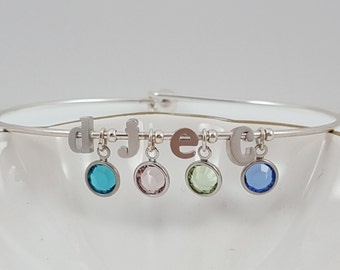Birthstone Jewelry | Personalized | Birthstone | Mothers Bracelet | Birthstone Charms | Build Your Own | Birthstone Bracelet | Letter Charm