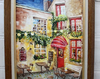 Framed Painting Oil Painting Original Cityscape Cafe Art Original Oil Painting Landscape Urban Framed Art Original Cafe Painting Canvas Art
