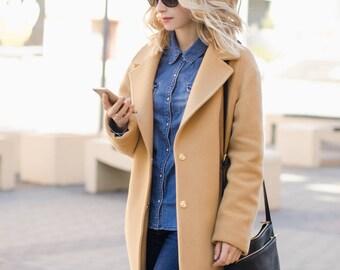 Camel coat / autumn wool coat / woman coat