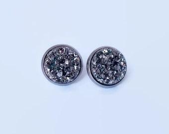 Gunmetal Druzy Earrings, Dark Grey earing studs, Stainless Steel druzzies, 12mm Druzy Studs, Large Druzy studs, Large studs, Druzy earrings