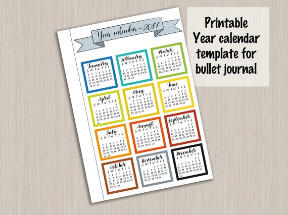2017 yearly calendar template for bullet journal printable