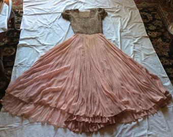 1930s Pink Silk Dress