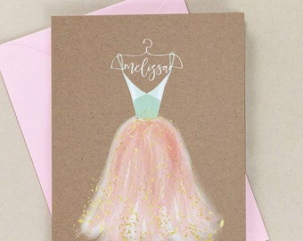 Bridesmaid card proposal, Will you be my bridesmaid card, Bridesmaid name, personalized bridesmaid card, custom, peach, mint, gold, 5x7,