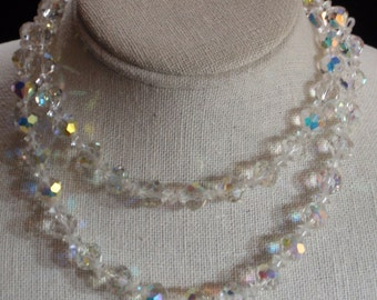 Crystal Faceted Aurora Borealis necklace