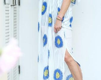 White Blue Flower Chiffon Beach Dress Swimsuit Bikini Cover Up | Casual Maxi Short Sleeve Dress | Spring/Summer Dress