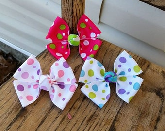 3-Polka-Dot Hair bows (3.5 inch)