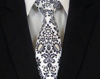Floral Necktie, Floral Tie, Mens Necktie, Mens Tie, Black White Necktie, Black White Tie, Black Necktie, Father, Dad, Christmas, Gift, Man