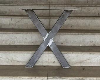 """28"""" X Frame Metal Table Legs, Steel Base, Width 24"""", Height 26"""" - 30"""" - Set of 2"""