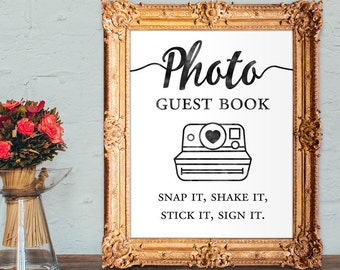 Photo guest book - snap it, shake it, stick it, sign it - wedding guest book - 8x10 - 5x7