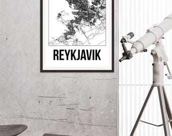 Reykjavik City Map Print - Black and White Minimalist City Map - Reykjavik Map - Reykjavik Art Print - Many Sizes/Colours Available