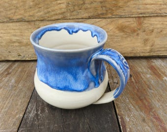 Handmade Mug, Ceramic Mug,Pottery Mug, Big Mug, Large Mug, Coffee Mug, Tea Mug, Blue Mug, Handmade, Blue, Ceramics, Coffee Cup, Tea Cup,