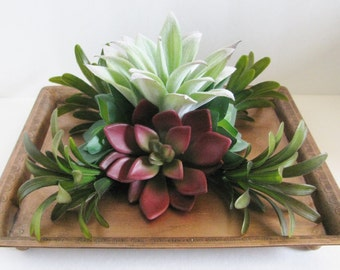 Faux Succulent Arrangement in Copper Platter, Table Accessory, Artificial Succulent Planter, Centerpiece, Home Accent, Unique Succulent Gift