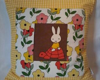 """Unique,Handmade  16"""" x 16"""" Patchwork 'Miffy' Pillow, Cushion Cover, Original Fabrics"""