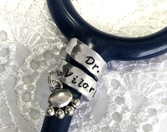 Stethoscope ID Tag, Stethoscope ID Tag for  Veterinarian, Stethoscope Wrap Ring, Veteranarian Gift