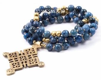 Ethiopian Cross Necklace | Denim Dumortierite Necklace | Coptic Cross Necklace | African Cross Necklace | Boho Cross Necklace