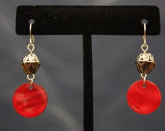 up-cycled silver and red dangle earrings