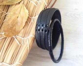 Black leather vintage bracelets set of 2