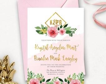 Printable Floral Watercolor Wedding Invitation / Rustic Floral Wedding Invitation Printable Template  / Floral Wedding Invitation