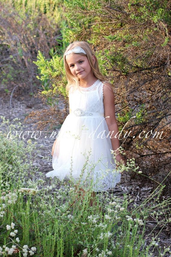 White Lace Flower Girl Dress,Off White French Lace & Rhinestone Sash Dress, Lace baby dress,Lace girl dress,Boho Bohemian dress, Rustic girl