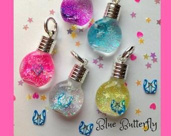 Blue Butterfly Snowglobe Necklace